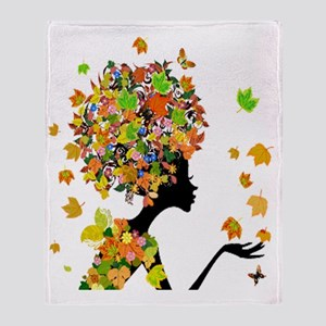 Flower Power Lady Throw Blanket